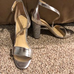 Silver and sparkle heels